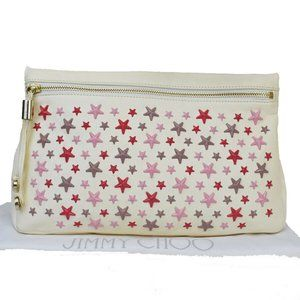 JIMMY CHOO Star Studded Clutch Hand Bag Leather
